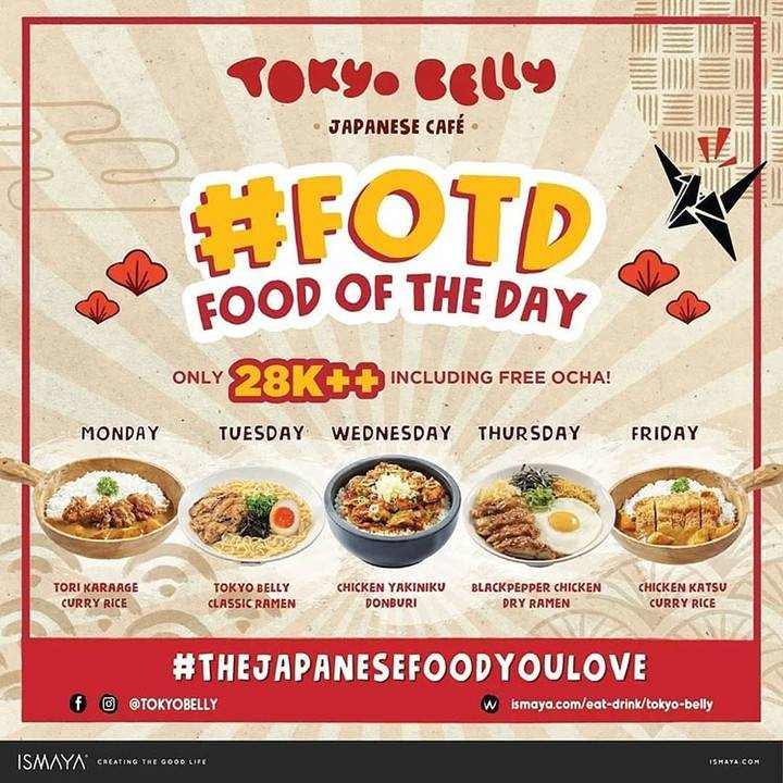 Diskon Tokyo Belly Promo Food Of The Day Hanya Rp. 28.000++