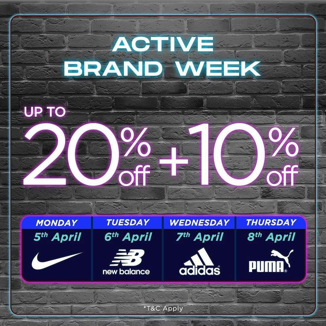 Promo diskon Sport Station Active Brand Week Discount Up To 20% Off + 10% Off
