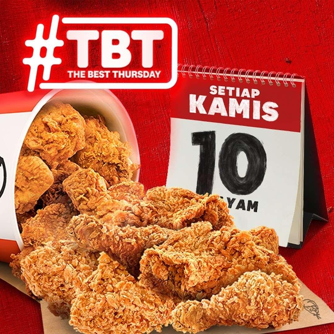 Diskon KFC Promo The Best Thursday 10 Pcs Ayam Hanya Rp. 90.000