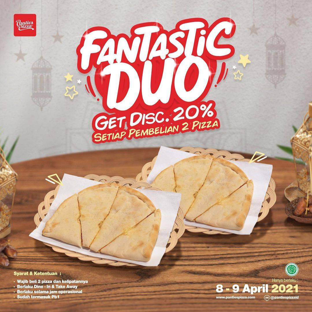 Diskon Panties Pizza Fantastic Duo Discount 20% Off On 2nd Pizza
