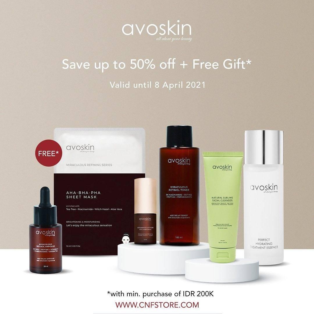 Diskon C&F Diskon Hingga 50% + Free Gift Untuk Produk Avoskin