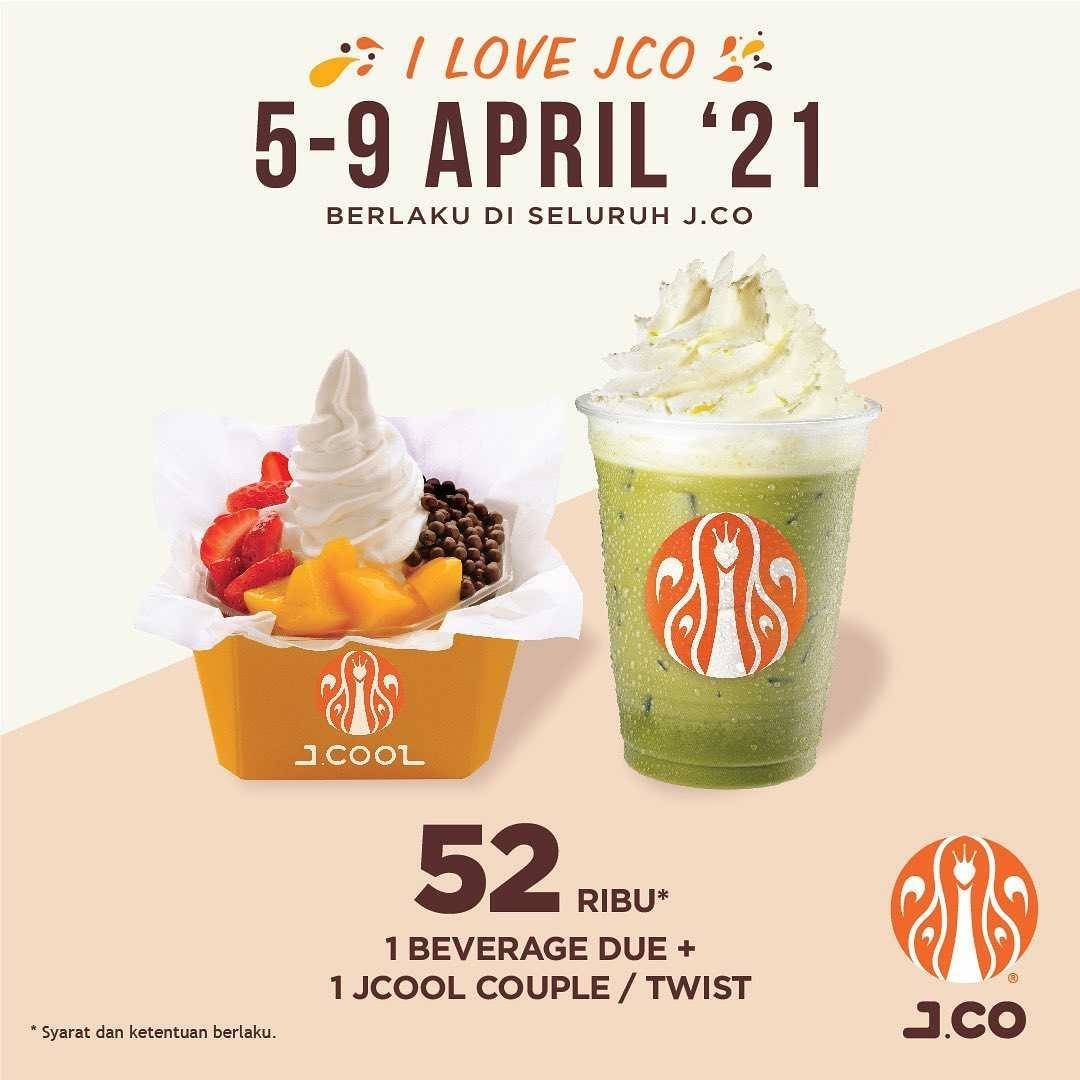 Diskon JCO Promo 1 Beverage Due + JCool Couple Hanya Rp. 52.000