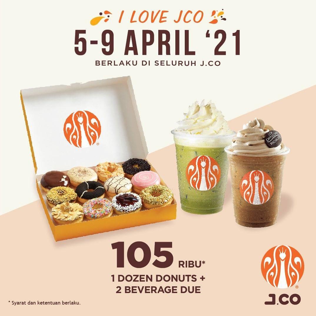 Diskon JCO Promo 1Dzn Donuts + 2 Beverage Due Hanya Rp. 105.000