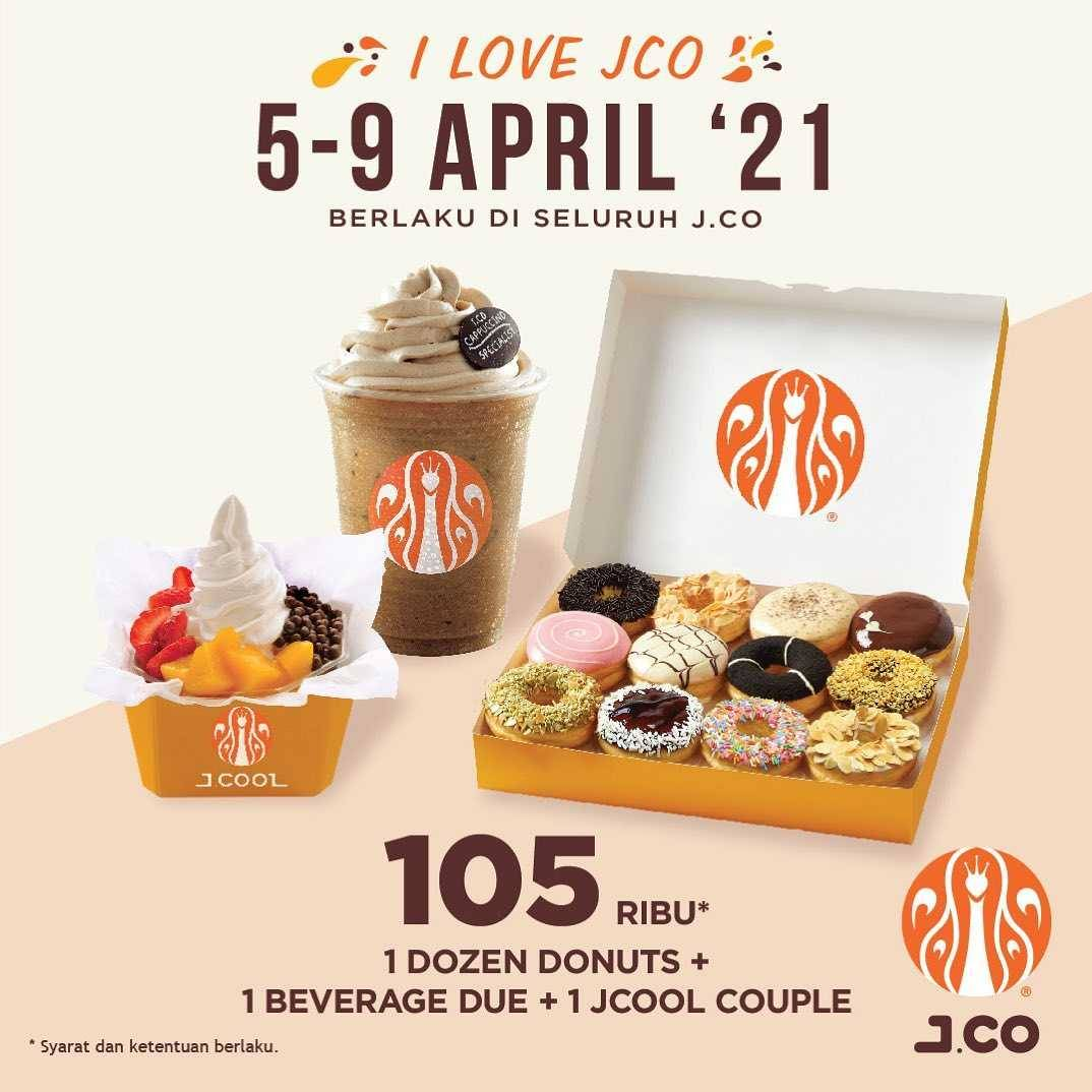 Diskon JCO Promo 1 Dzn Donuts + 1 Beverages Due + 1 JCool Couple Only For Rp. 105.000
