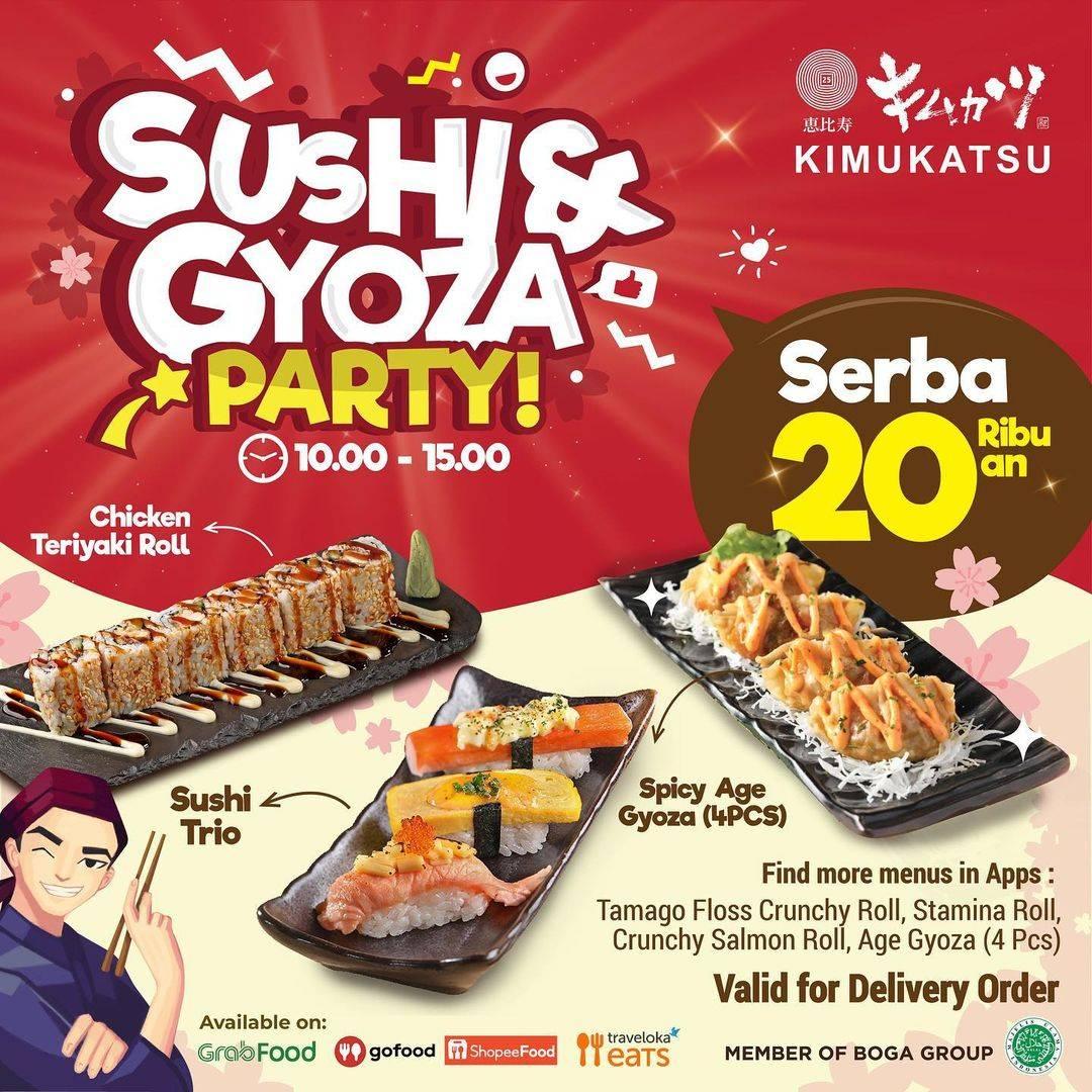 Diskon Kimukatsu Sushi & Gyoza Party Serba Rp. 20Ribuan