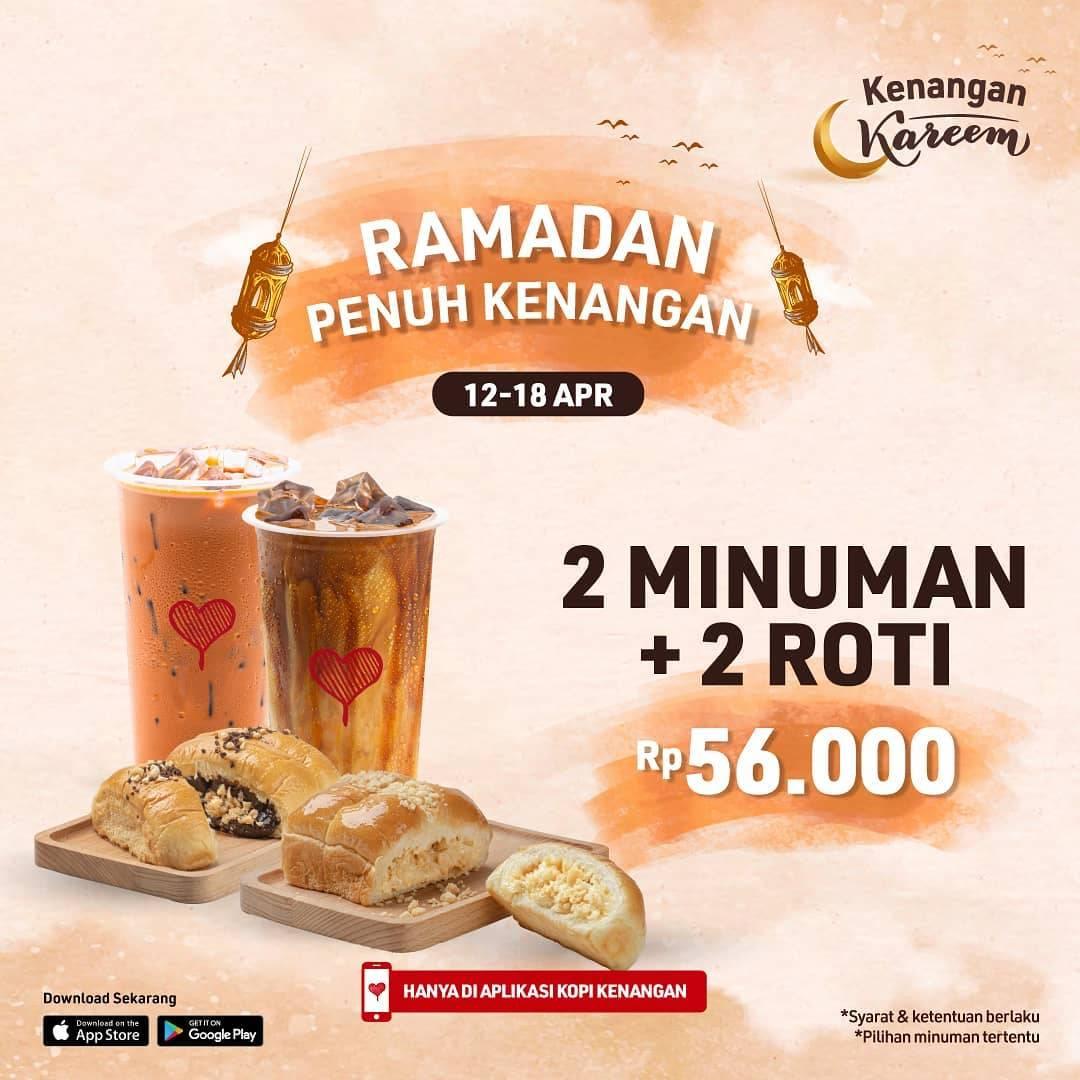 Diskon Kopi Kenangan Promo Ramadan 2 Minuman + 2 Roti Hanya Rp. 56.000