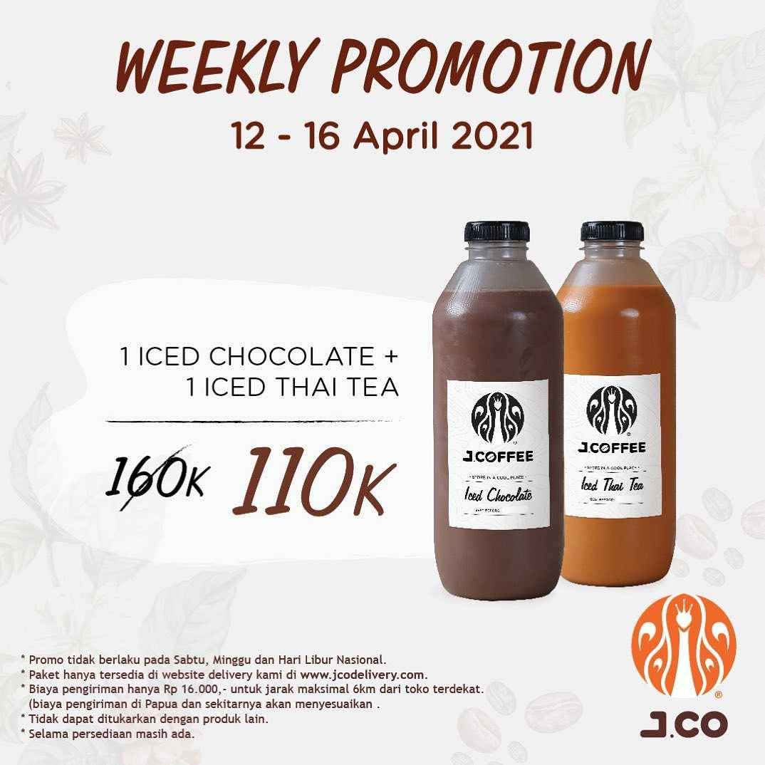 Diskon JCO Weekly Promotion Iced Chocolate + Iced Thai Tea Rp. 110.000