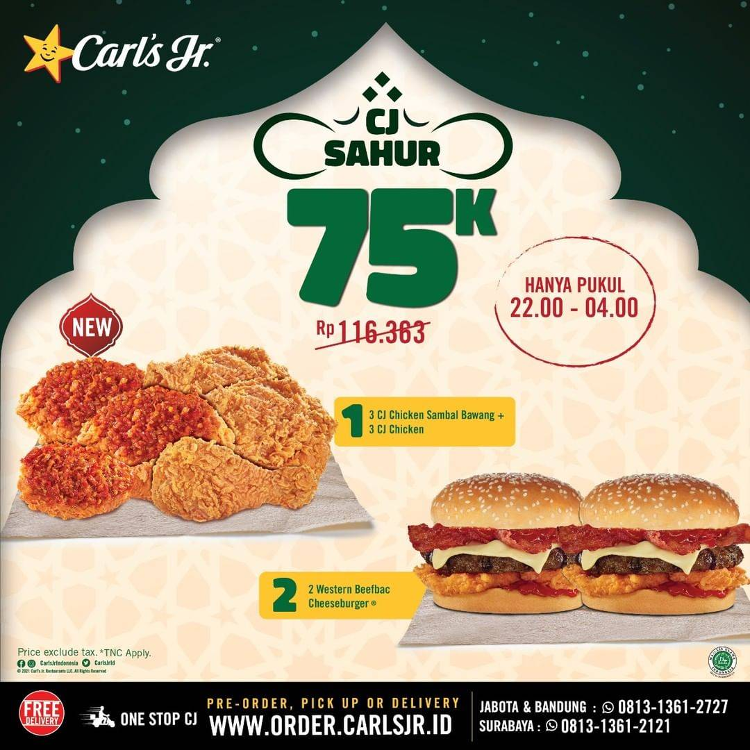 Promo diskon Carls Promo Paket CJ Sahur Harga Hanya Rp. 75.000