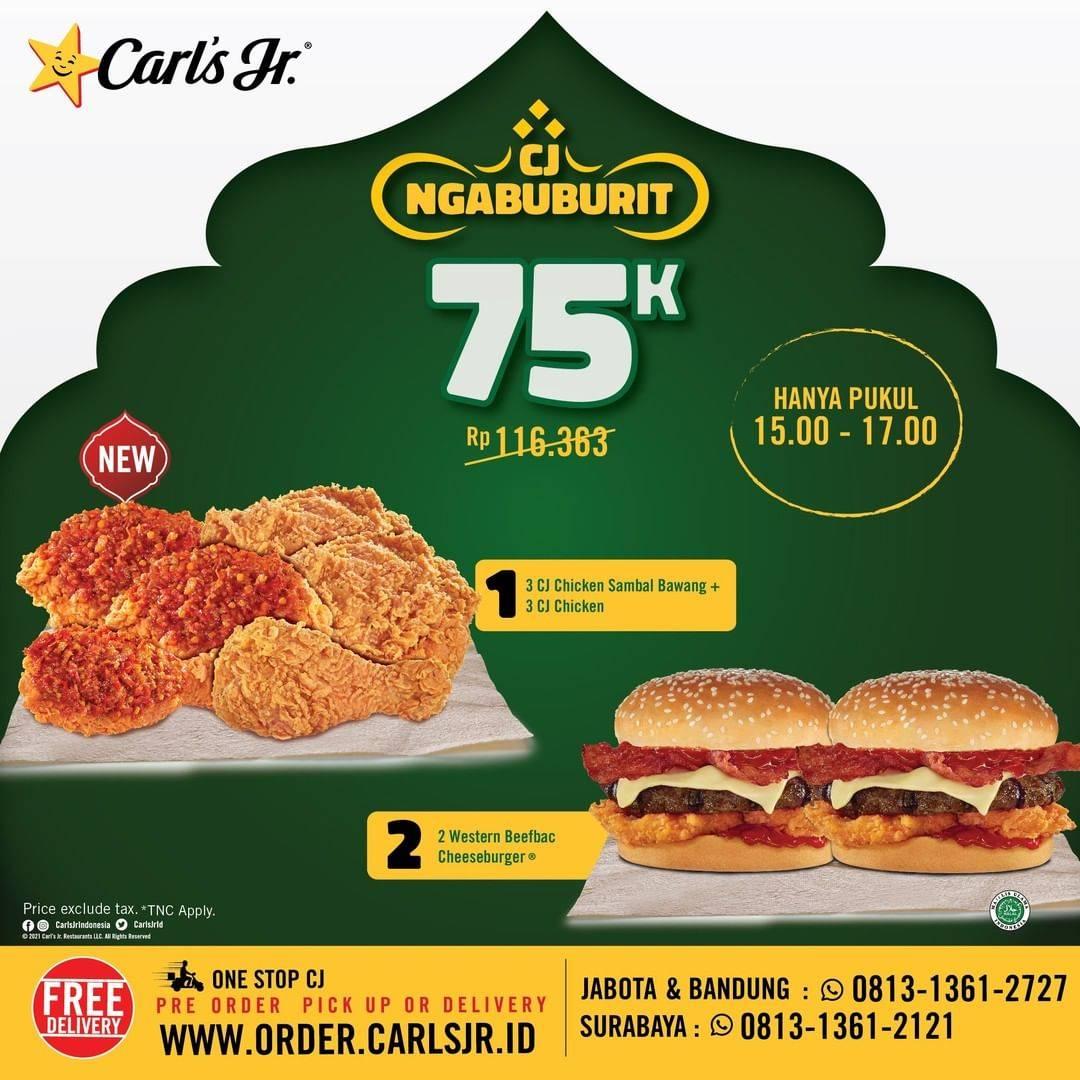 Diskon Carls Jr Promo Paket CJ Ngabuburit Hanya Rp. 75.000