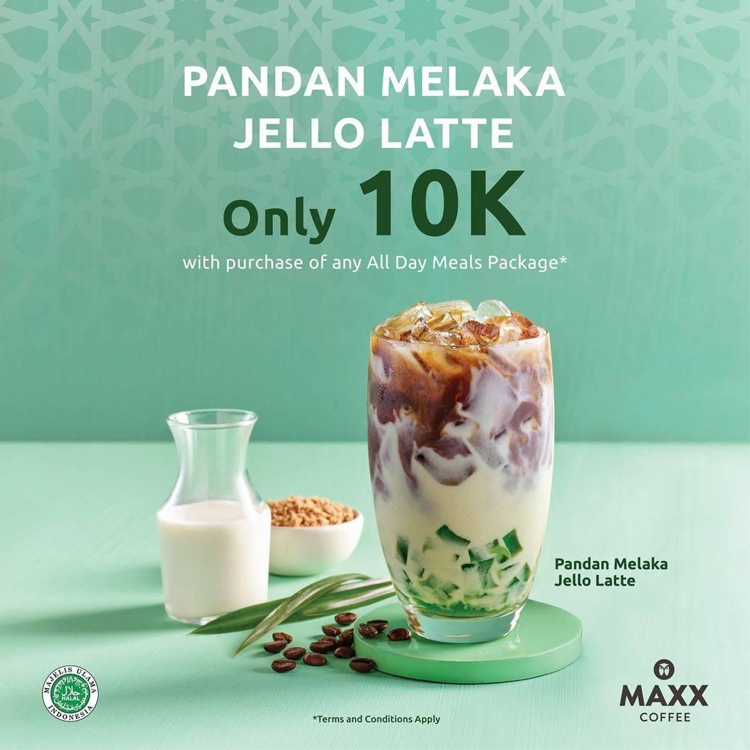 Diskon Maxx Coffee Promo Pandan Malaka Jello Latte Hanya Rp. 10.000