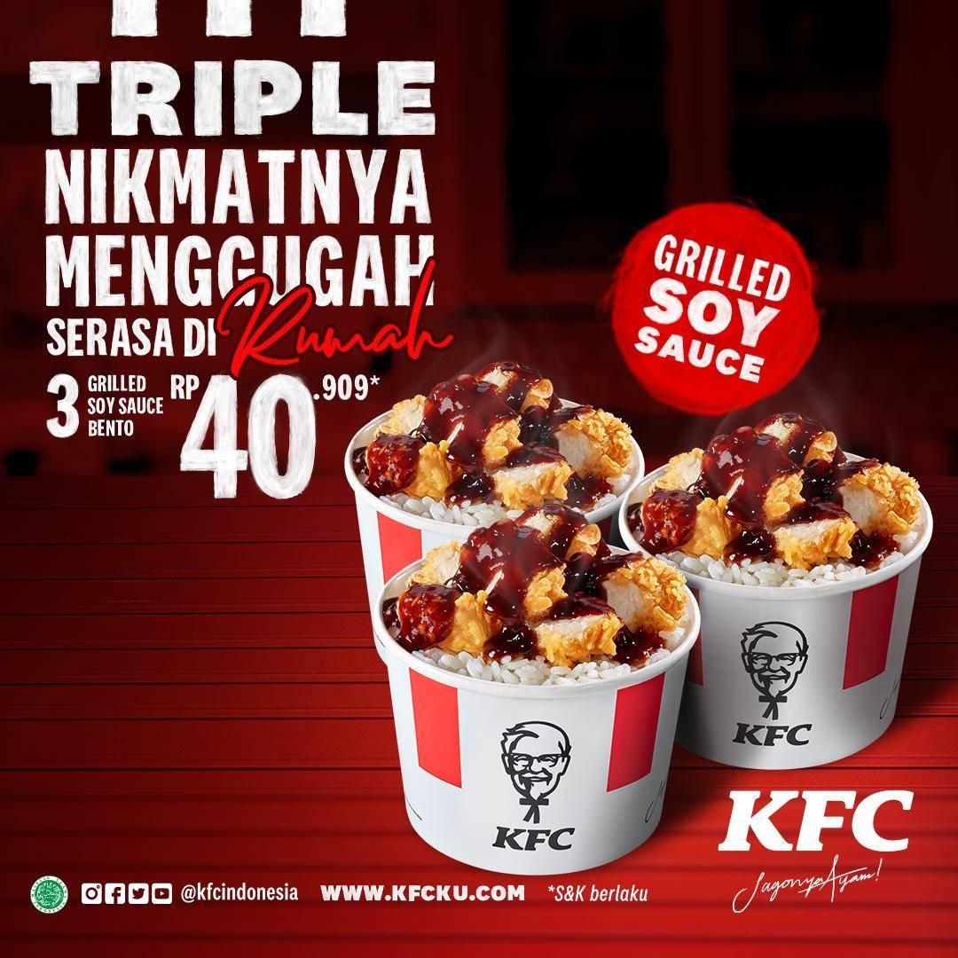 Diskon KFC Promo 3 Grilled Soy Sauce Bento Hanya Rp. 40.909