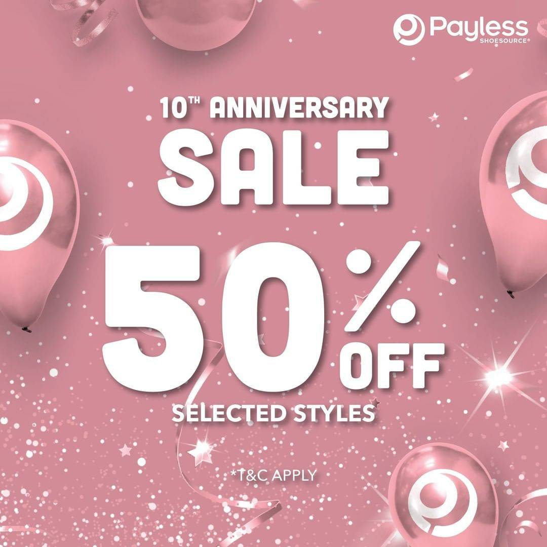 Diskon Payless Promo 10th Anniversary Discount 50% Off