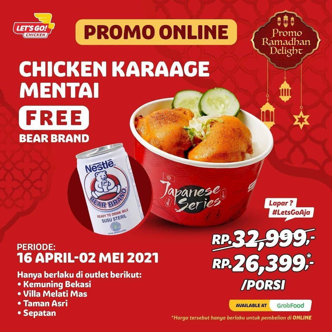 Diskon Let's Go Chicken Promo Chicken Karaage Mentai + Gratis Bear Brand Di GrabFood