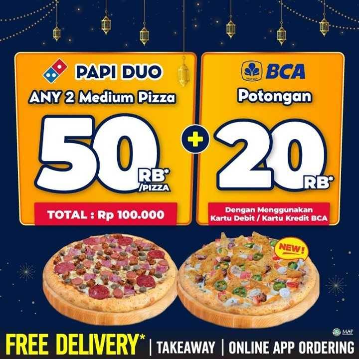 Diskon Domino's Pizza Discount 50% Off + Discount Rp. 20.000 With BCA Debit/Credit Card