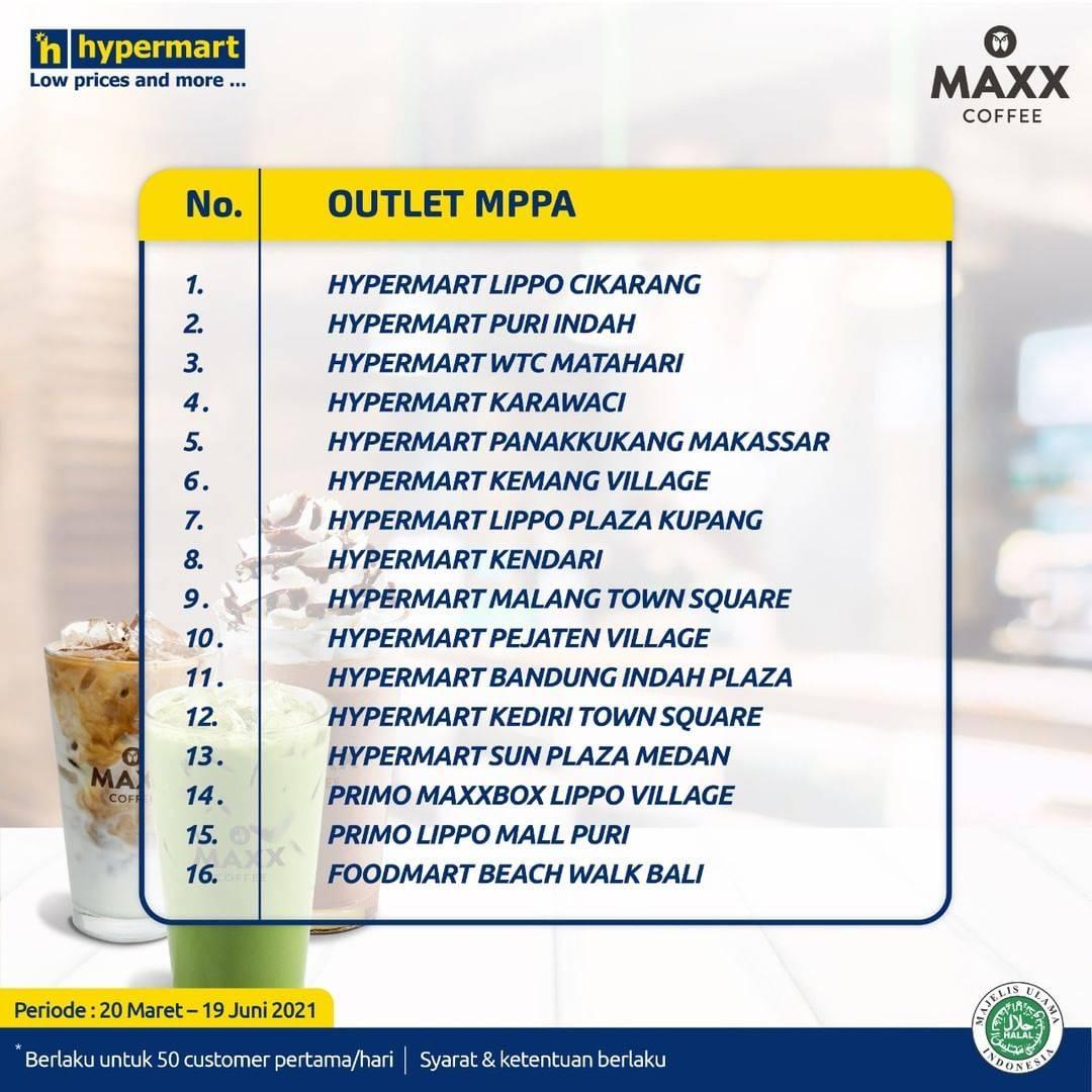 Promo diskon Hypermart Free Voucher Maxx Coffee Buy 1 Get 1 Free