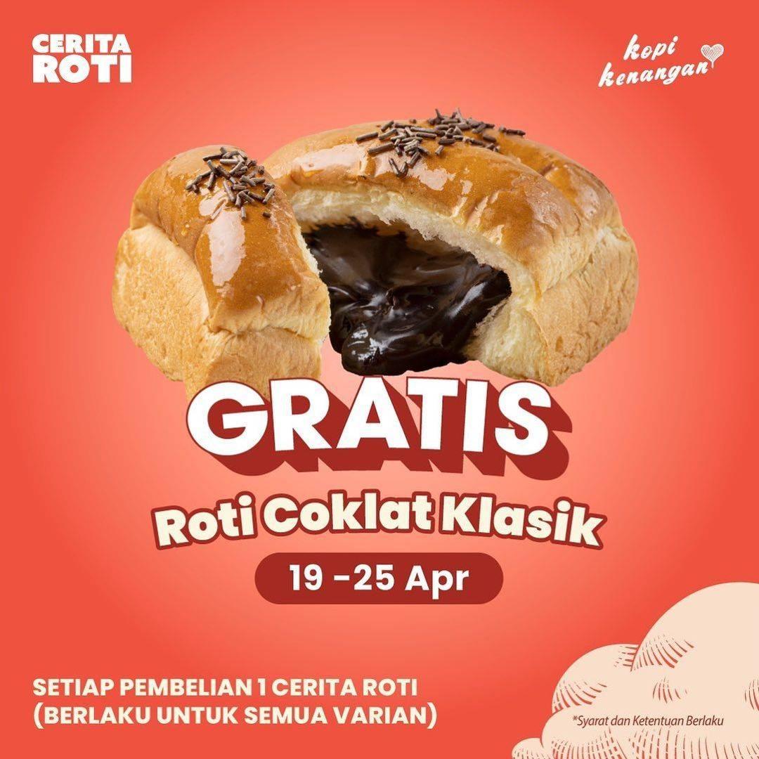 Diskon Cerita Roti x Kopi Kenangan Gratis Roti Coklat Klasik
