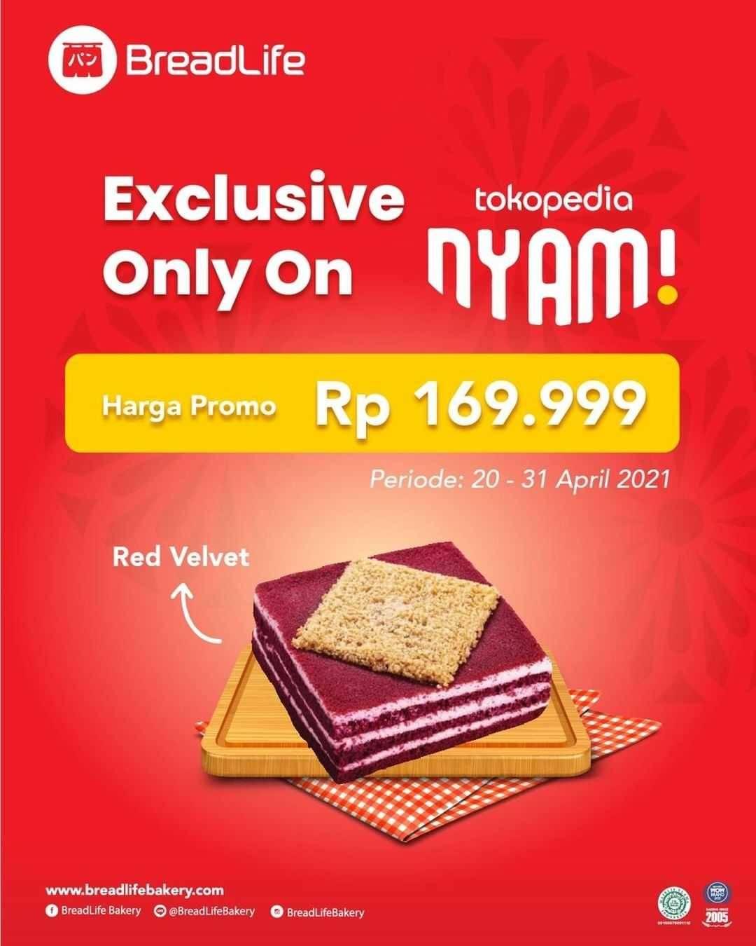 Diskon Breadlife Promo Red Velvet Cake Rp. 169.999 On Tokopedia Nyam