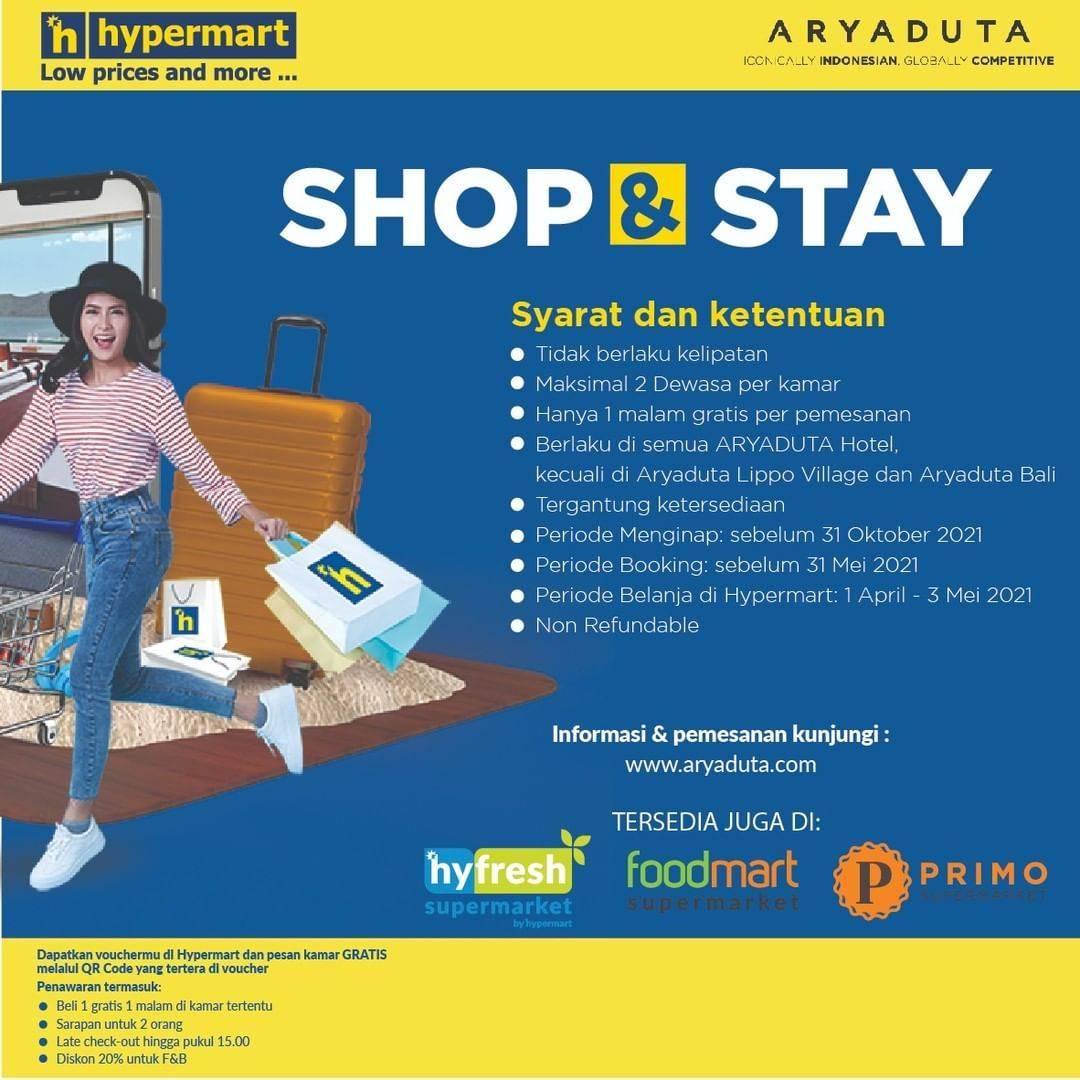 Promo diskon Hypermart x Aryaduta Promo Shop & Stay Beli 1 Gratis 1