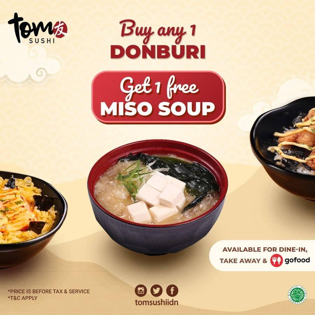 Diskon Tom Sushi Buy 1 Any Donburi Get 1 Free Miso Soup