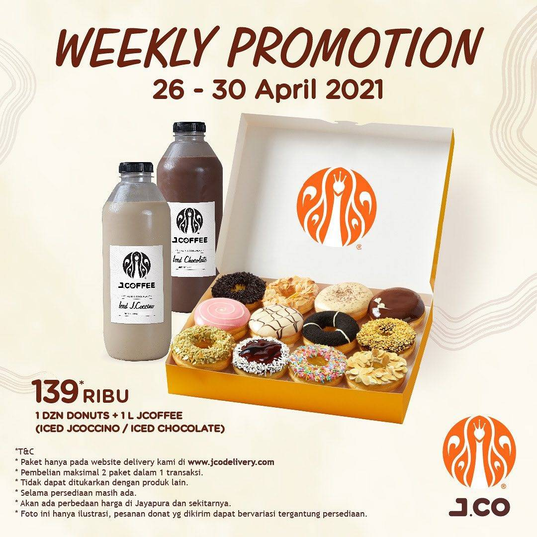 Diskon JCO Weekly Promotion 1 Dzn Donuts + 1 JCoffee Only For Rp. 139.000