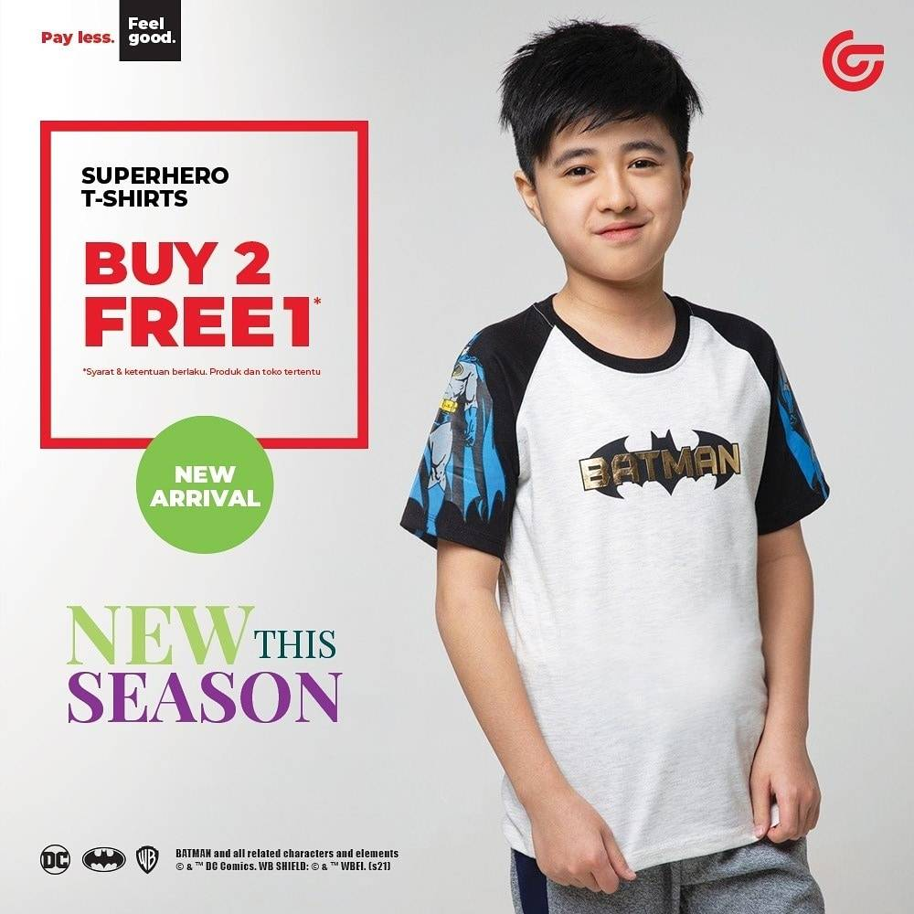 Diskon Matahari Buy 2 Get 1 Free Superhero T-Shirts