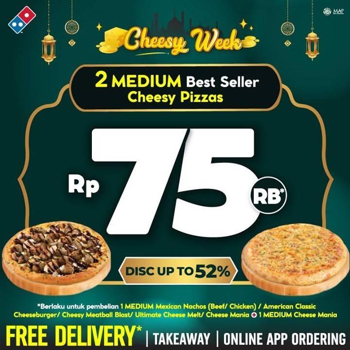 Diskon Domino's Pizza Cheesy Week 2 Medium Best Seller Cheesy Pizza Hanya Rp. 75.000