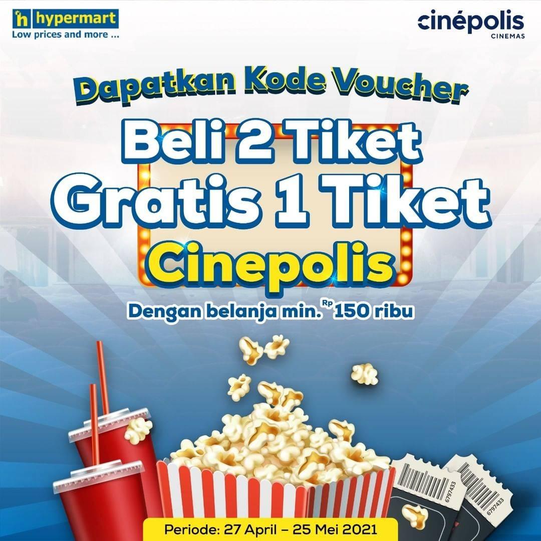 Diskon Hypermart Beli 2 Gratis 1 Tiket Cinepolis