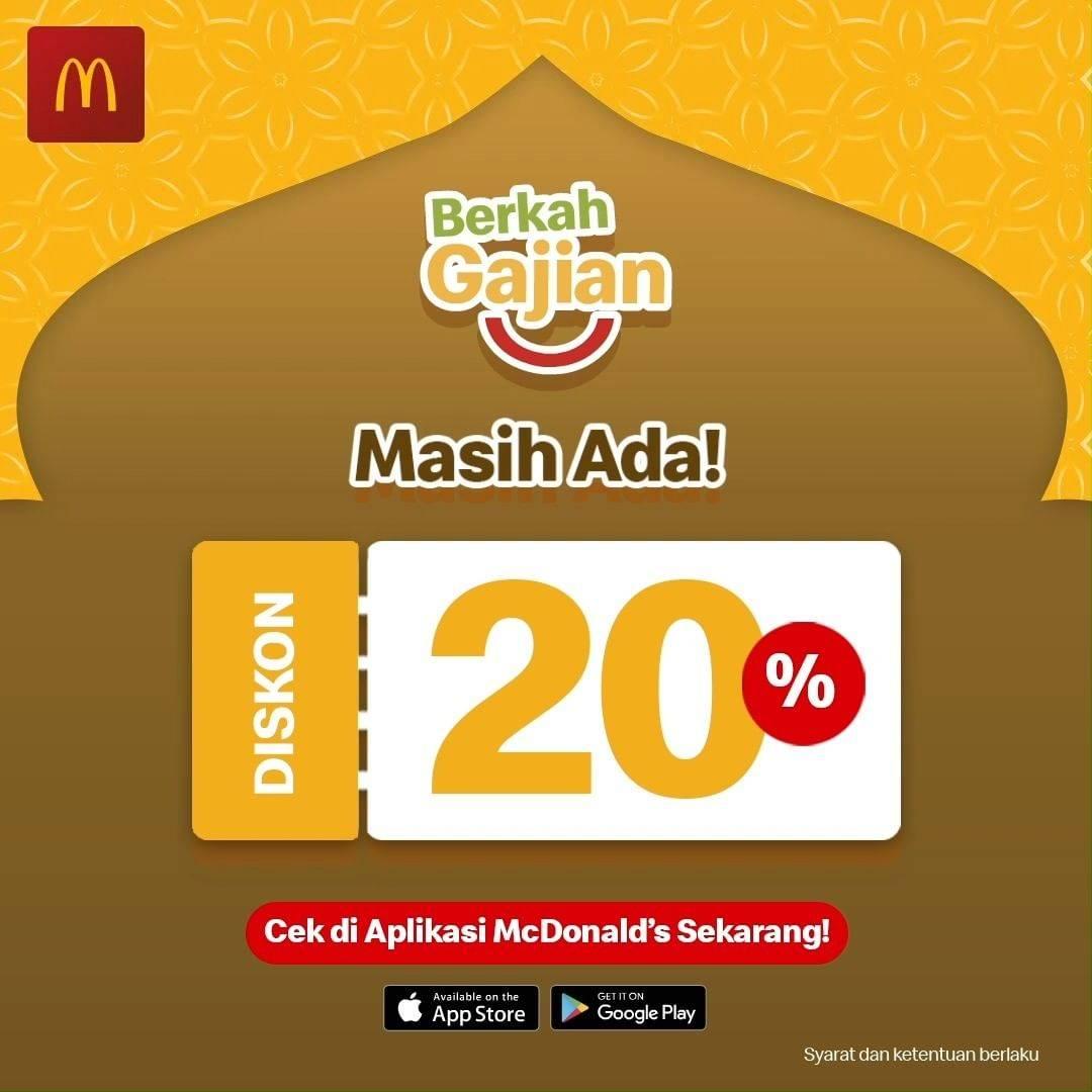 Diskon McDonalds Berkah Gajian Diskon 20% Di Aplikasi McD