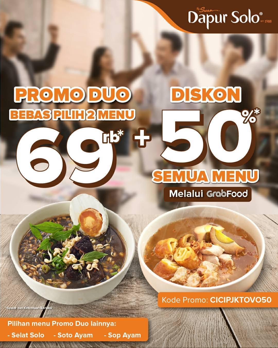Diskon Dapur Solo Promo Dua + Diskon 50% Dengan GrabFood