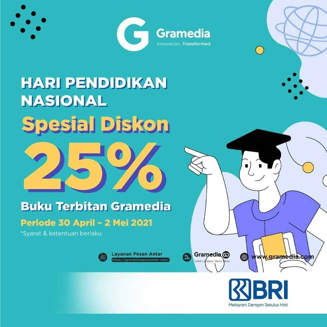 Promo diskon Gramedia Spesial Diskon 25% Buku Terbitan Gramedia Dengan Kartu Debit BRI