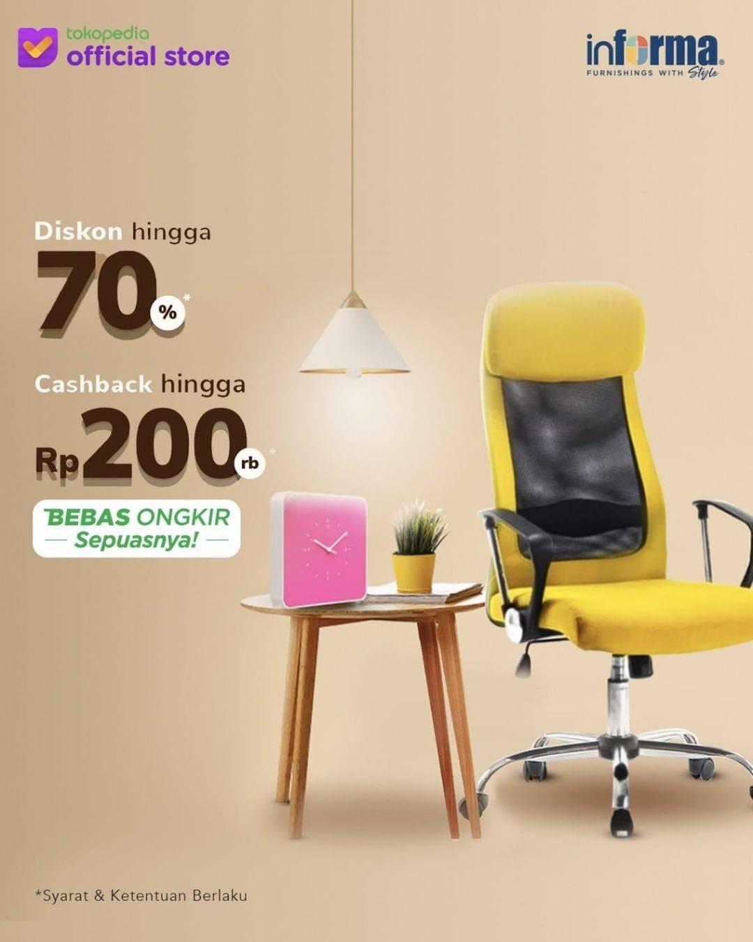 Diskon Informa Promo Diskon Hingga 70% + Cashback Hingga Rp. 200.000 Setiap Belanja Di Informa Tokopedia