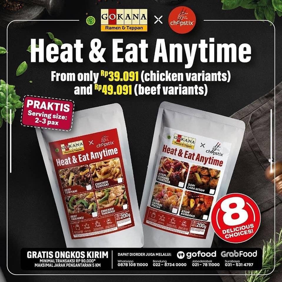Diskon Gokana Ramen & Teppan x Chopstix Promo Heat & Eat Anytime Packages From Only Rp. 39.091