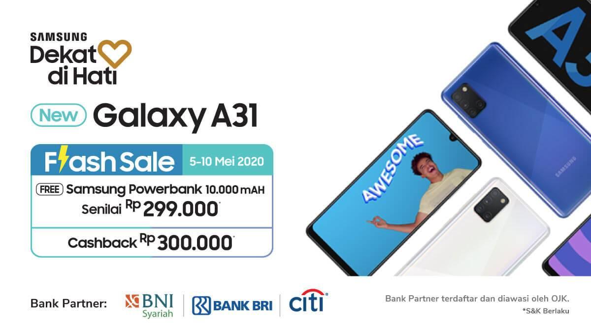 Diskon Tokopedia Promo Flash Sale Galaxy A31 Gratis Samsung Powerbank + Cashback Rp. 300.000