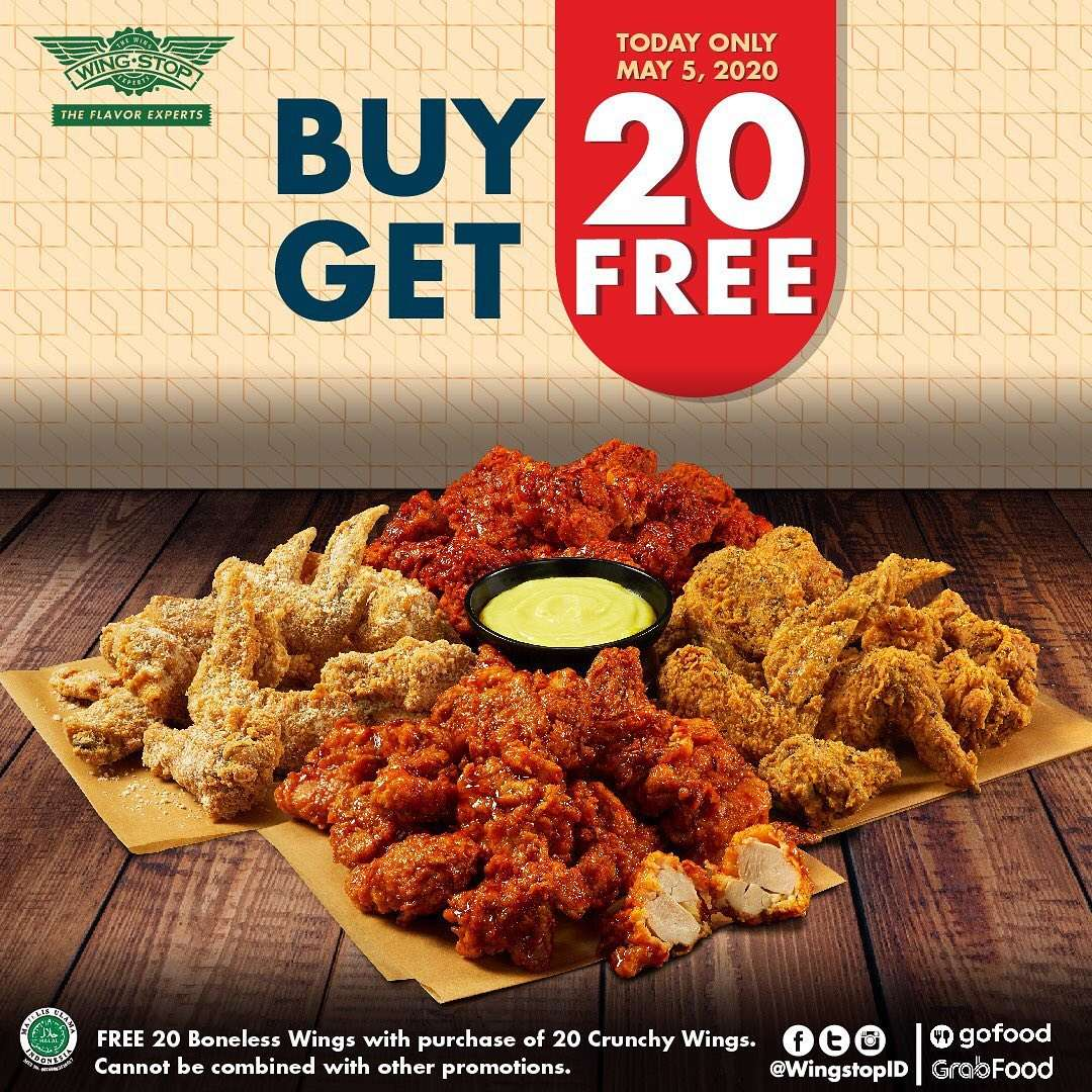 Diskon Wingstop Promo Buy 20 Pcs Crunchy Wings Get Free 20 Pcs Boneless Wings