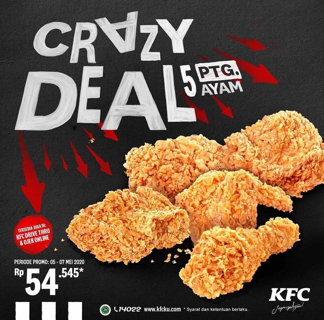 Diskon KFC Promo Crazy Deal 5 Potong Ayam Cuma Rp. 54.545