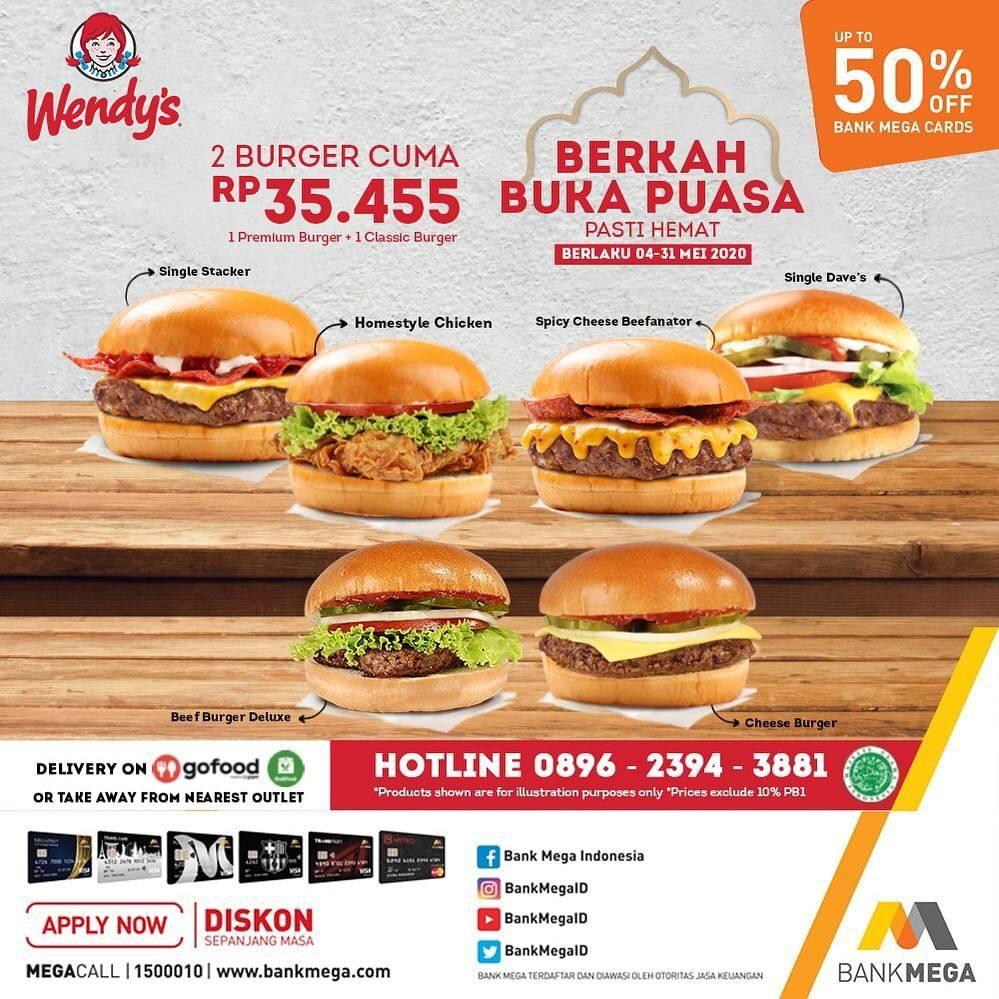 Diskon Wendy's Promo 2 Burger Cuma Rp. 35.455 + Diskon 50% Untuk Pengguna Kartu Kredit Bank Mega