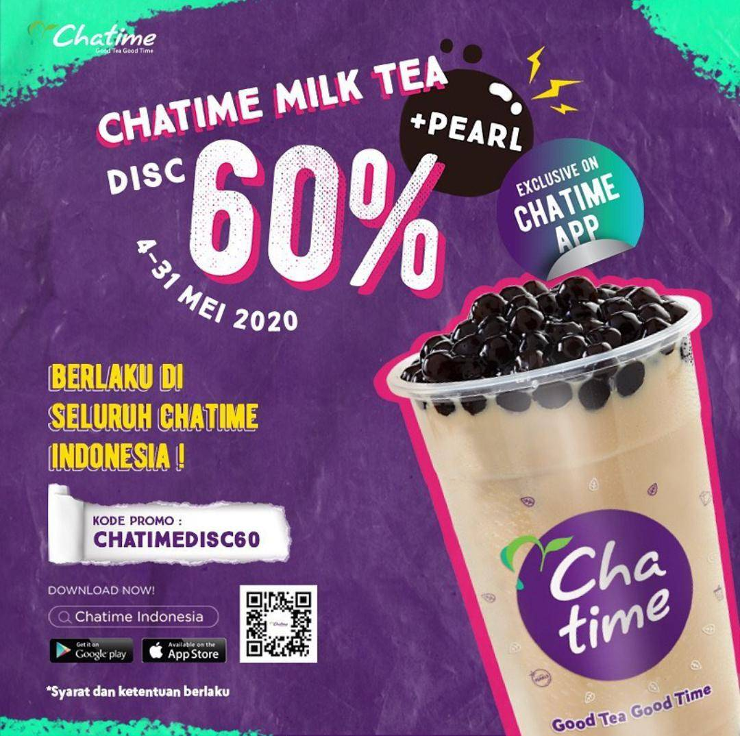 Diskon Chatime Promo Diskon 60% Untuk Pearl Milktea Khusus Pemesanan Melalui Aplikasi Chatime