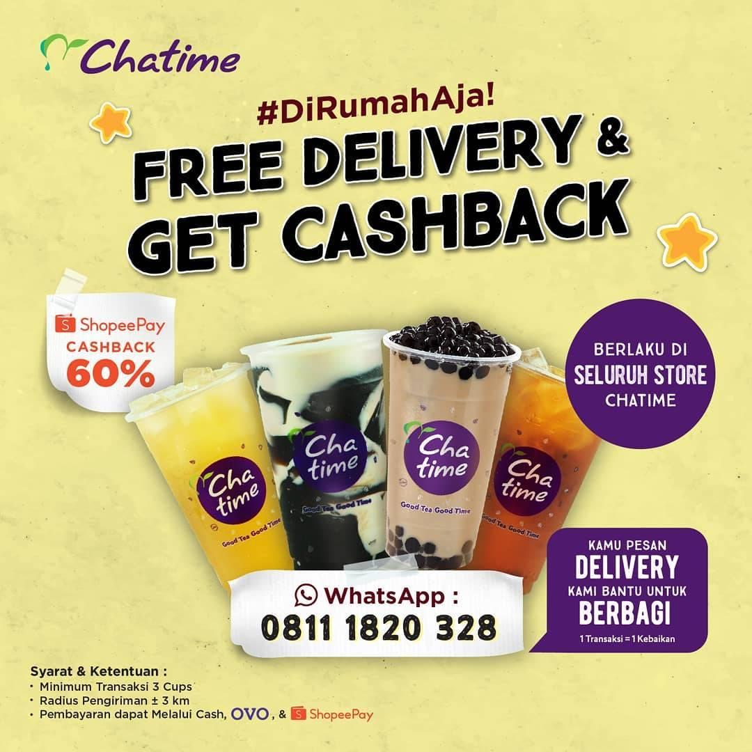 Diskon Chatime Promo Free Delivery + Cashback 60% Untuk Transaksi Menggunakan ShopeePay