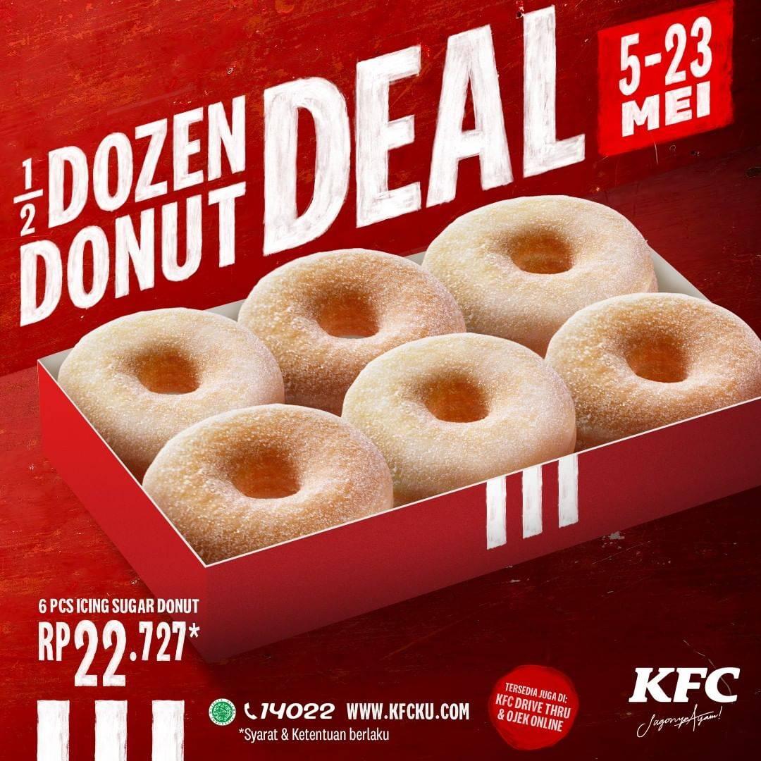 Diskon KFC Promo Paket 1/2 Lusin Donut Icing Sugar Hanya Rp. 22.727