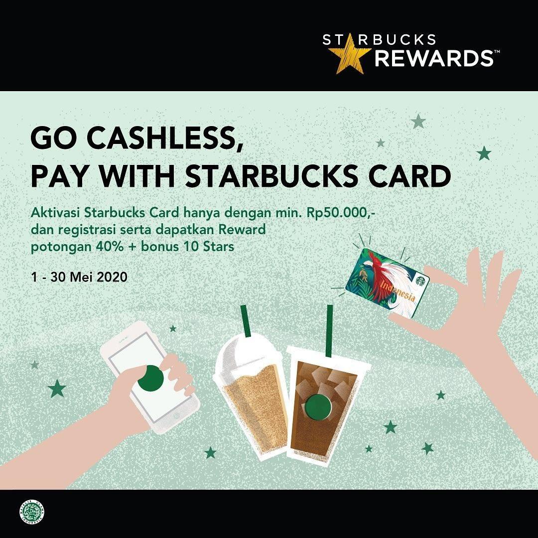 Diskon Starbucks Promo Diskon 40% + Bonus 10 Stars Setiap Aktivasi Starbucks Card