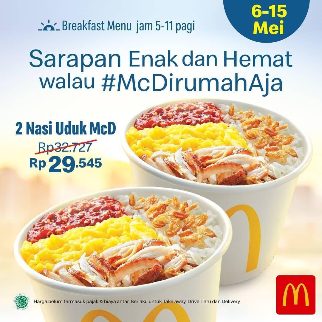 Diskon McDonalds Promo 2 Nasi Uduk McD / 2 Chicken Muffin Cuma Rp. 29.545