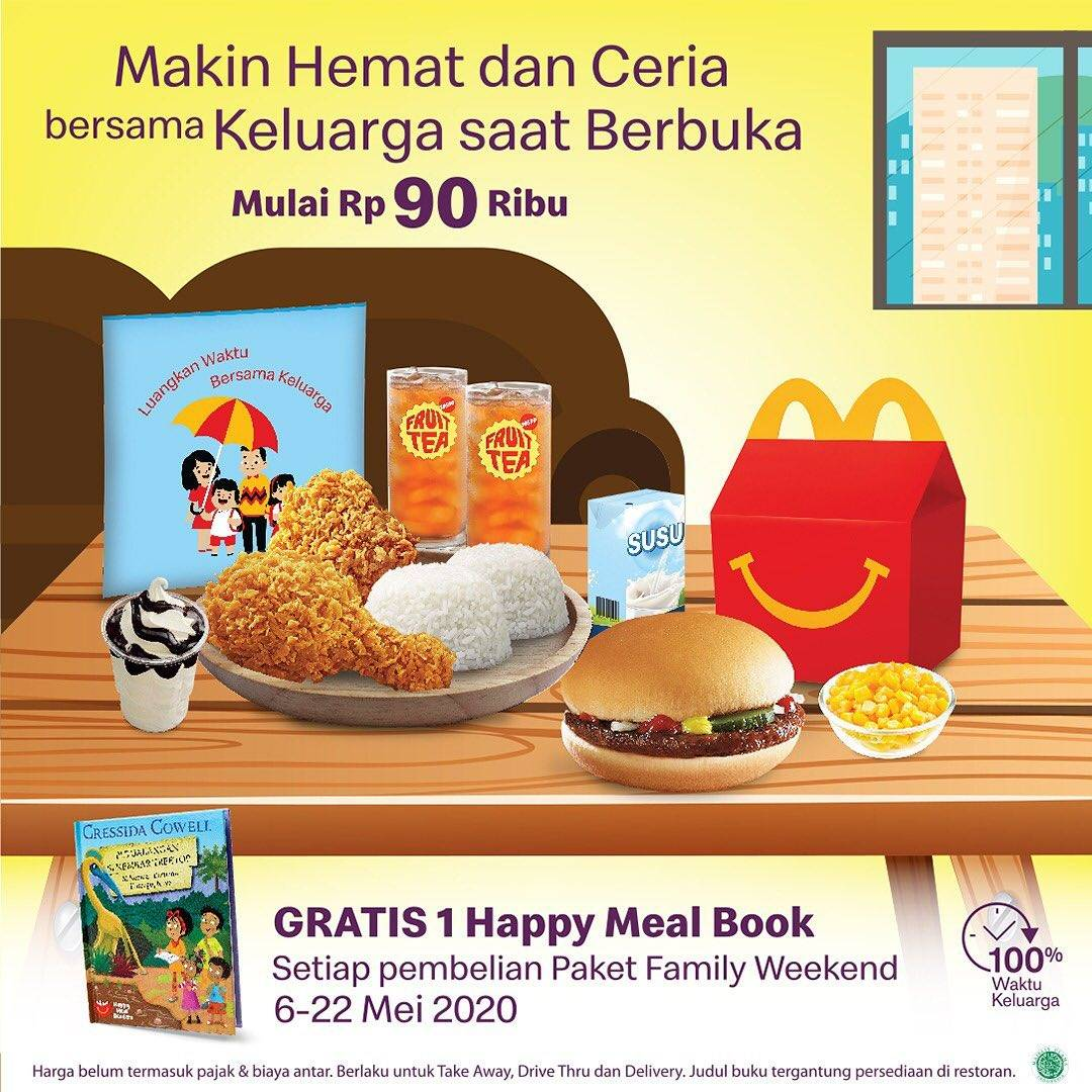 Diskon McDonalds Promo Gratis Happy Meal Book Setiap Pembelian Paket Family Wekeend