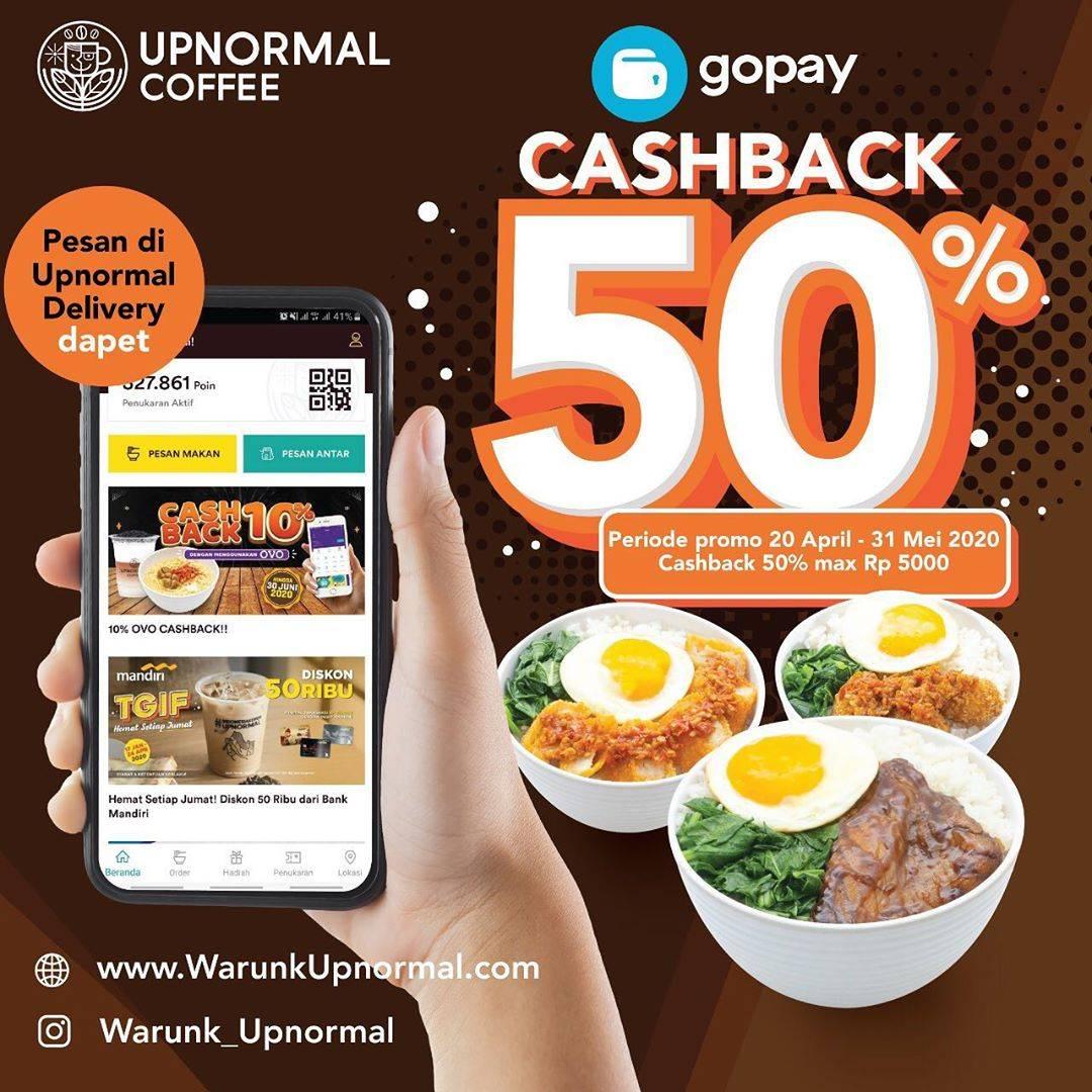 Diskon Warunk Upnormal Promo Cashback 50% Untuk Transaksi Menggunakan Gopay