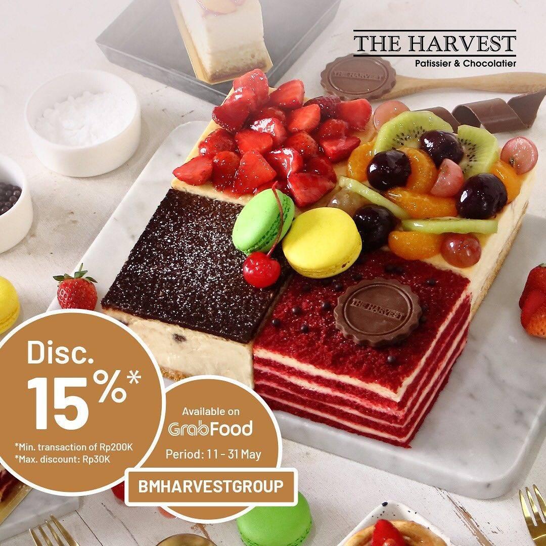 Diskon The Harvest Promo Diskon 15% Dengan Pemesanan Cake Melalui GrabFood