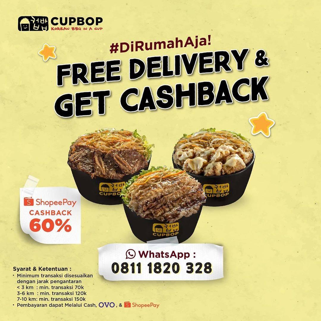 Diskon CupBop Promo Free Delivery & Get Cashback
