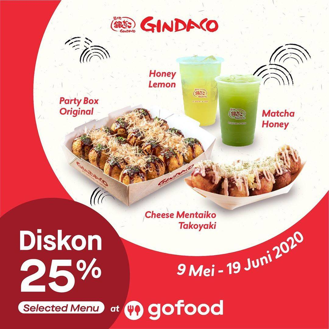 Diskon Gindaco Takoyaki Promo Diskon 25% Untuk Menu Pilihan Untuk Pemesanan Melalui GoFood