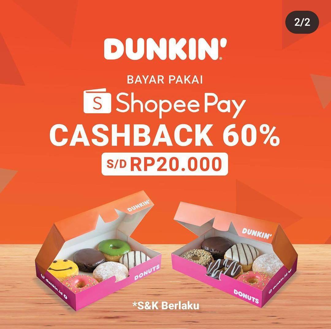 Diskon Dunkin Donuts Promo Beli 1 Gratis 1 Minuman & Cashback 60% ShopeePay