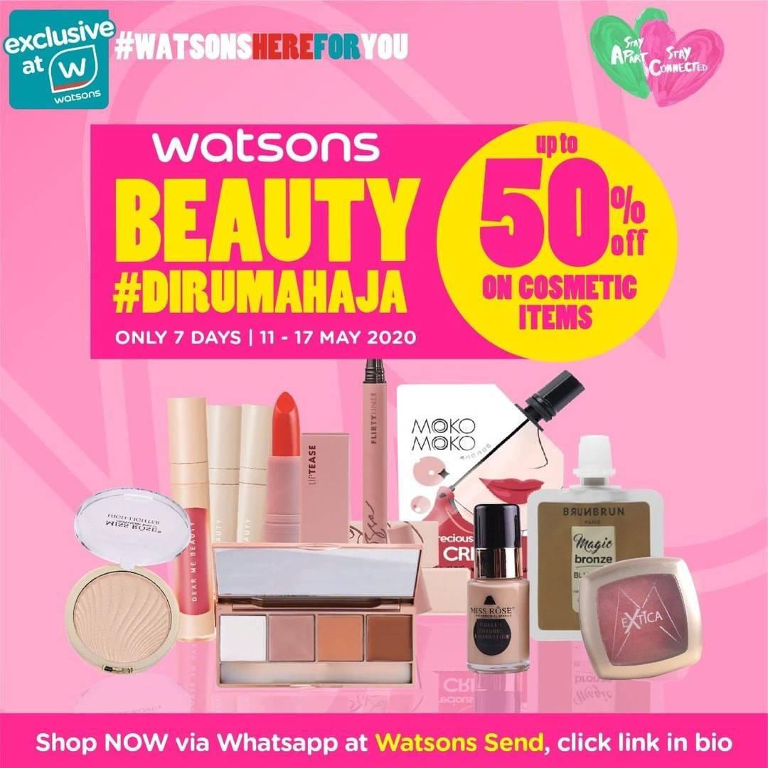Diskon Watsons Promo Beauty Di Rumah Aja, Dapatkan Diskon Hingga 50% Untuk Kosmetik