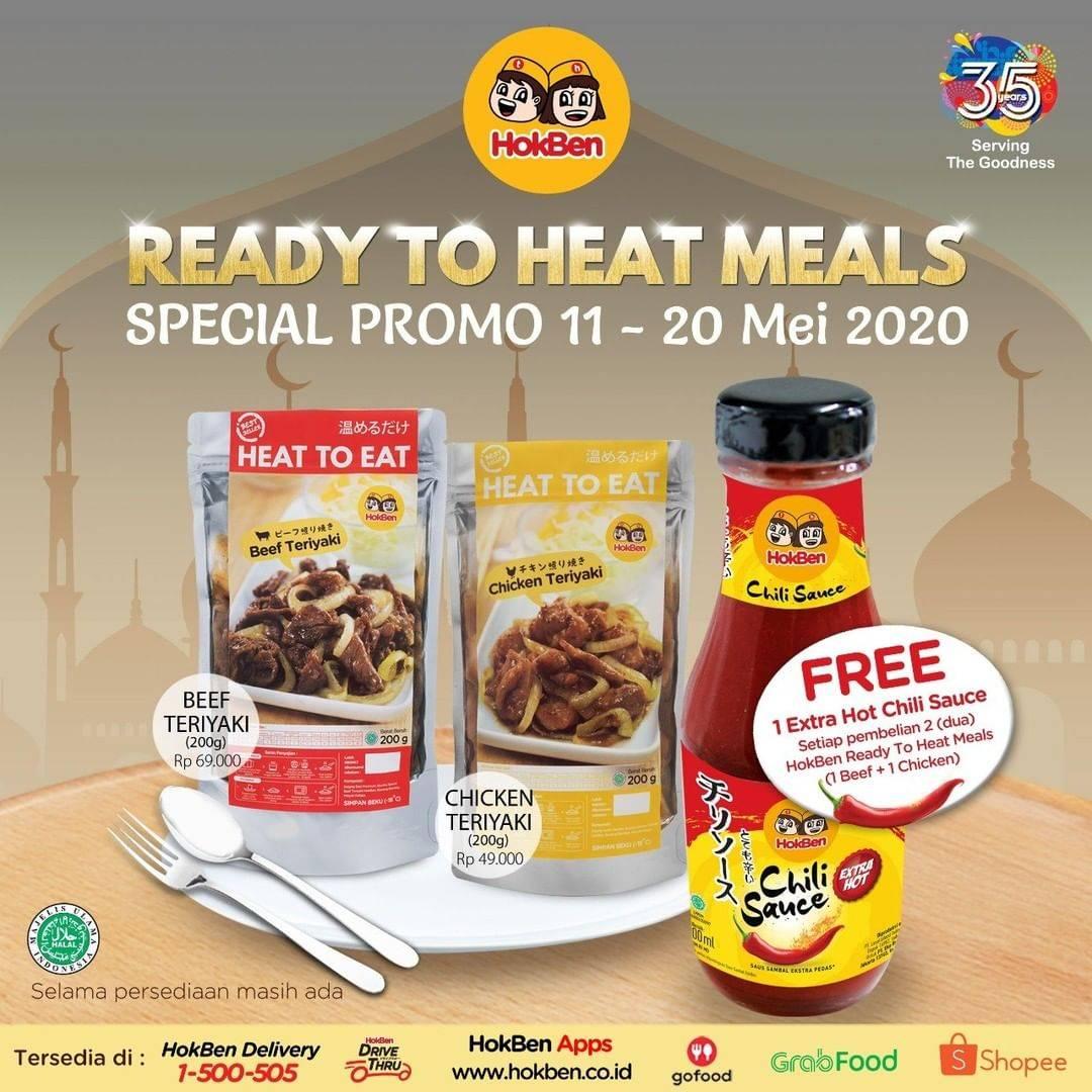 Diskon HokBen Promo Ready To Heat Meals Dengan Harga Mulai Dari Rp. 49.000 + Gratis 1 Botol Sambal