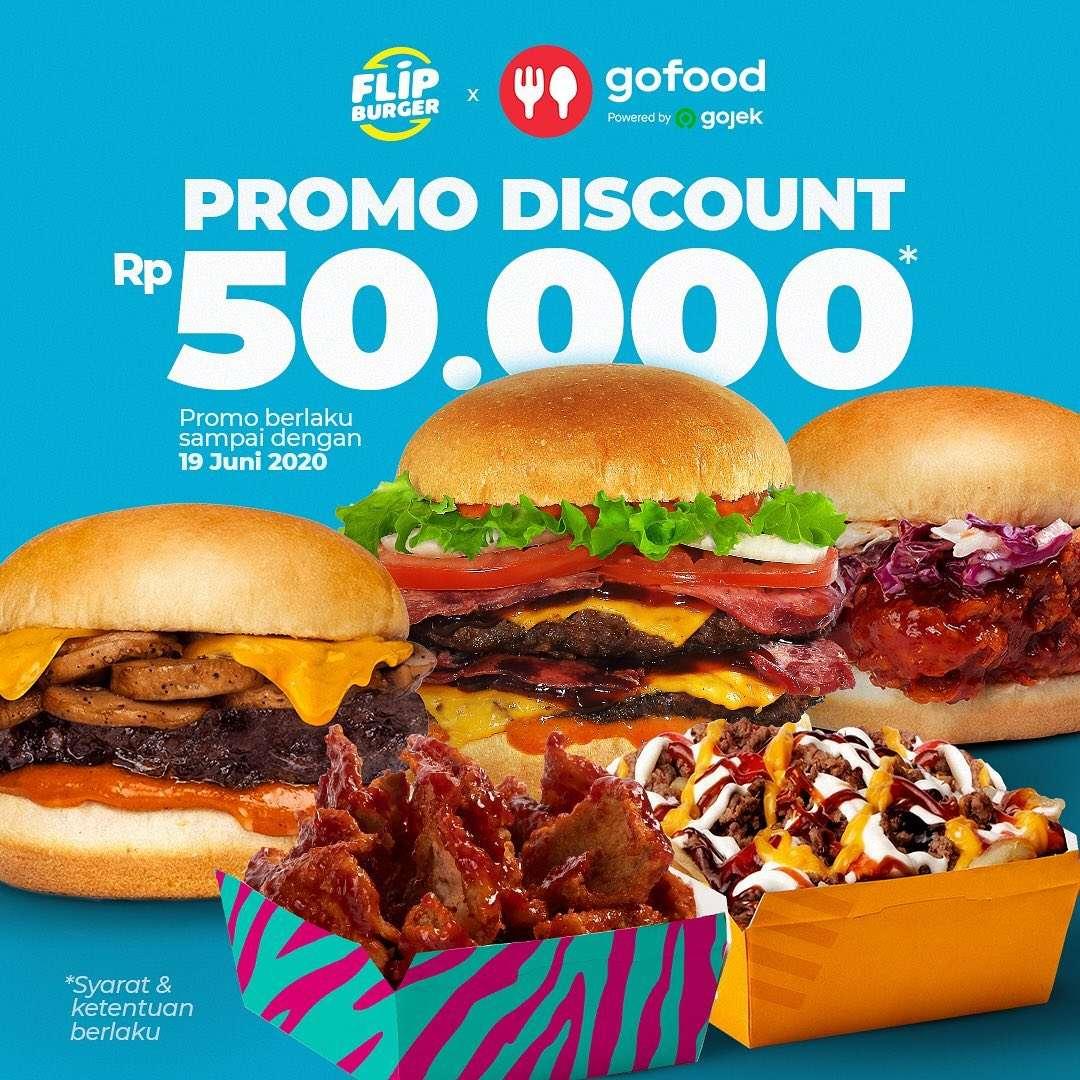 Diskon Flip Burger Promo Discount Rp. 50.000 Untuk Pemesanan Menu Via GoFood